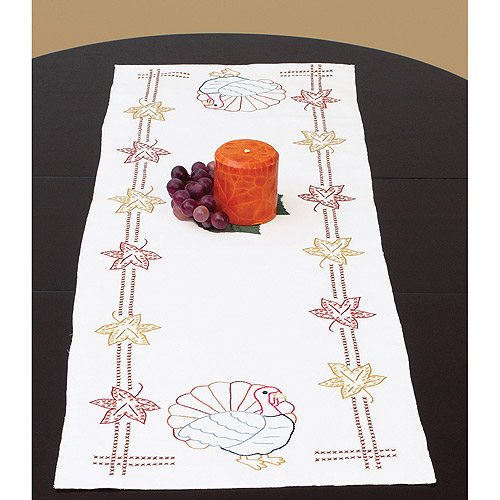 "Jack Dempsey Thanksgiving Stamped Table Runner, 15"" x 42"""