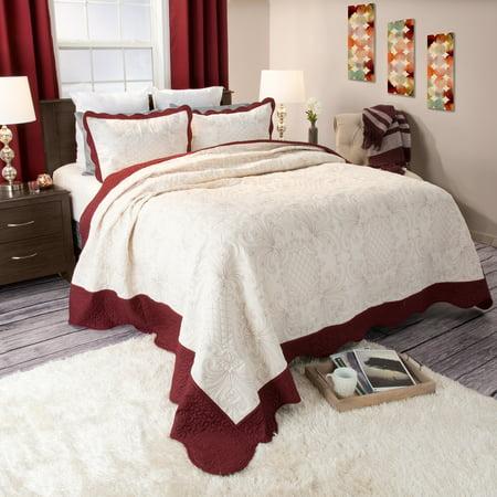 Somerset Home 3pc Juliette Embroidered Quilt Bedding