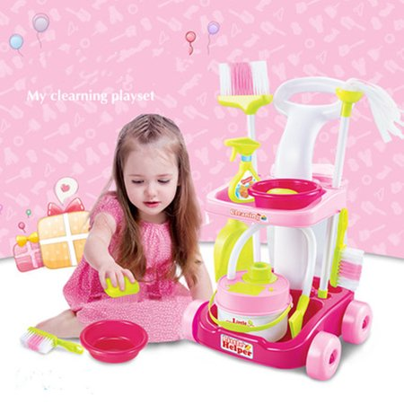 Kids Gifts Toys House Playing trolley Cleaning Trolley Set Tool For Early Teaching 15 x 7.5 x 21'(Cart, Broom, Mop, Bucket, Dust Pan, Brush, Cleaning Rag, Mock Soap (Buckle Brush)