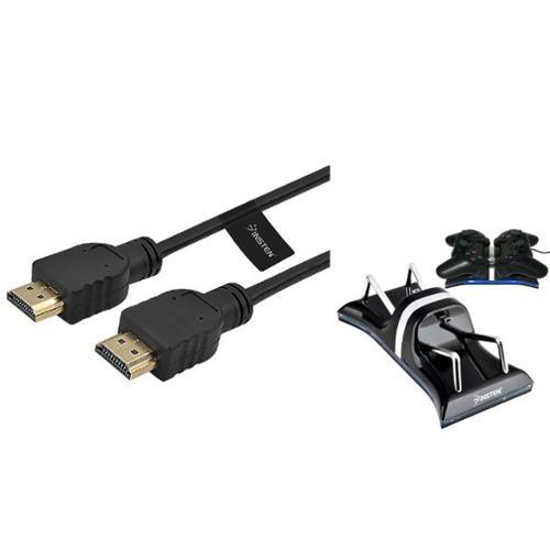 Insten For Sony PS3 Playstation 3 USB Dual Controller Charger + Hdmi Cable