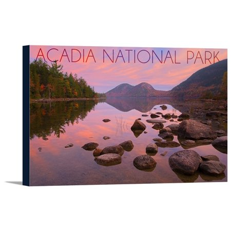 Acadia National Park, Maine - Jordan Pond - Lantern Press Photography (18x12 Gallery Wrapped Stretched - Jordan Wrap