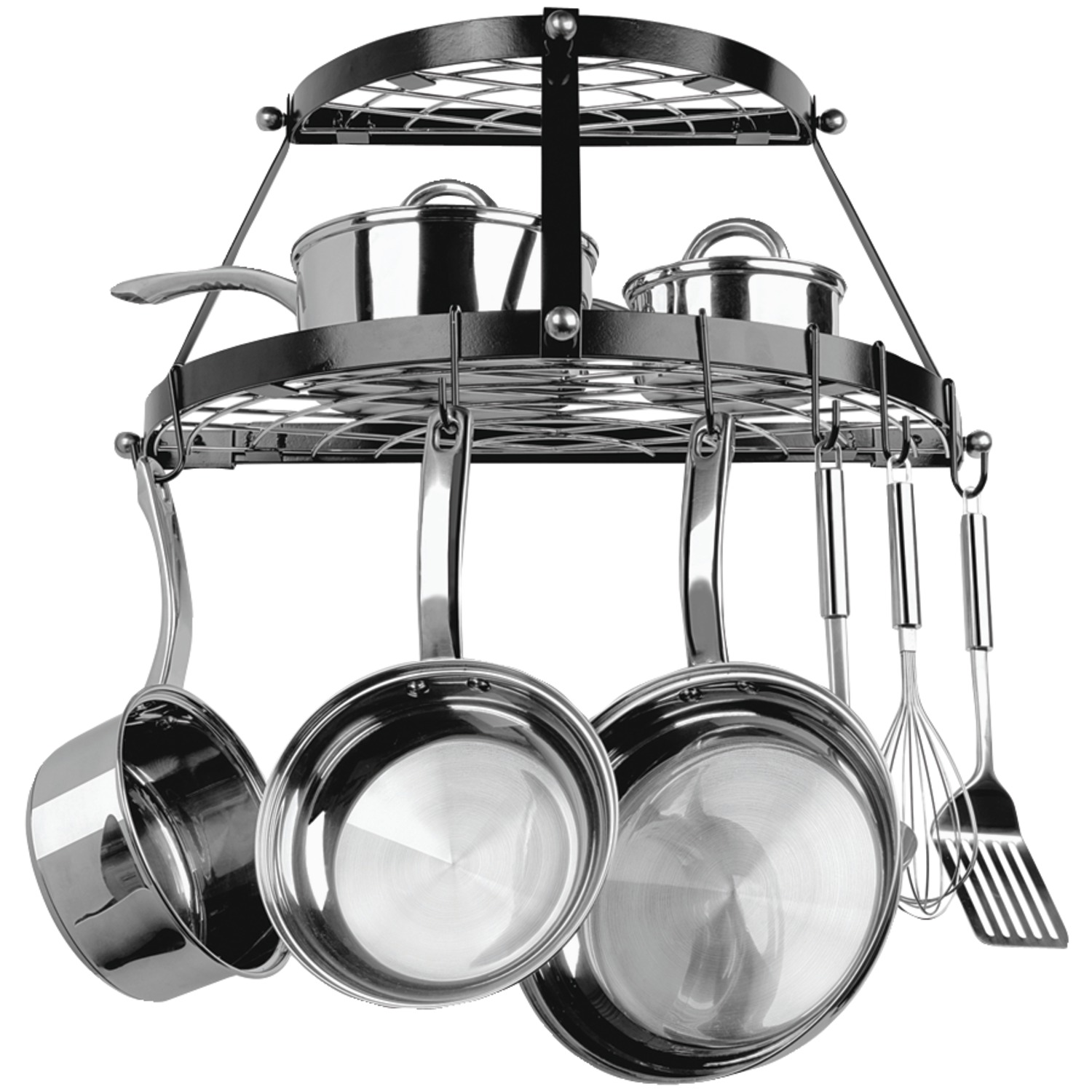 Range Kleen CW6002R Double-shelf Wall-mount Pot Rack (black)