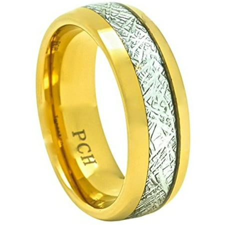 Mens Imitated Meteorite Tungsten Ring Comfort Fit Dome Wedding Band 8mm 14K  Gold Plate (13)