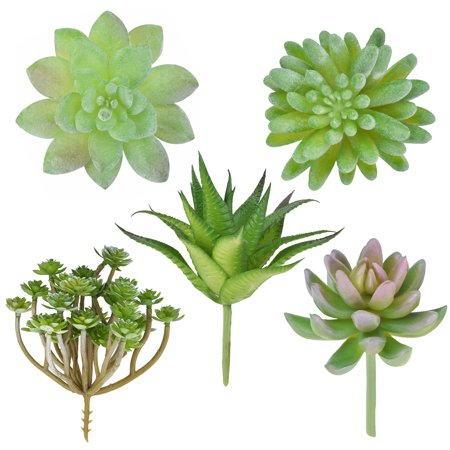 Outgeek 5PCS Artificial Plants Simulated Succulent Fake Decorative Succulents Unpotted for Home Living Room Office Indoor Garden Outdoor Wedding Party