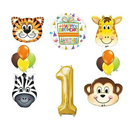 Jungle Animal Safari First 1st Birthday Party Supplies and Balloon - Jungle Safari Balloons