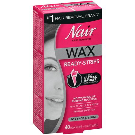 Nair Hair Remover Wax Ready-Strips for Face & Bikini, 40 (Best Wax Strips For Bikini Line)