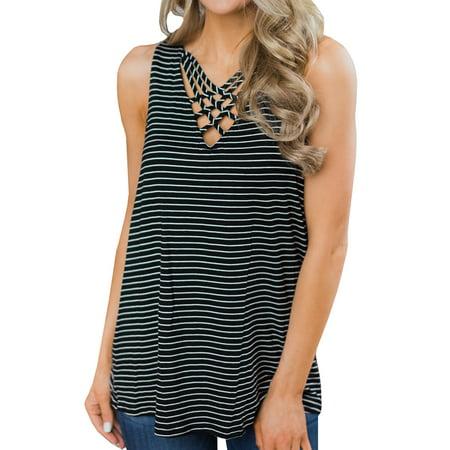 Sleeveless Striped Print Women V-Neck T-Shirts Tops