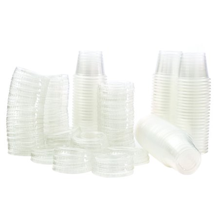 1 oz Jello Shot Plastic Tumbler Cups with Lids Translucent/Clear, 100 Pcs - Jello Shots Recipe Halloween