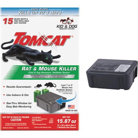 Tomcat Rat Killer II Refillable Rat Bait Station (Best Rat Killer On The Market)