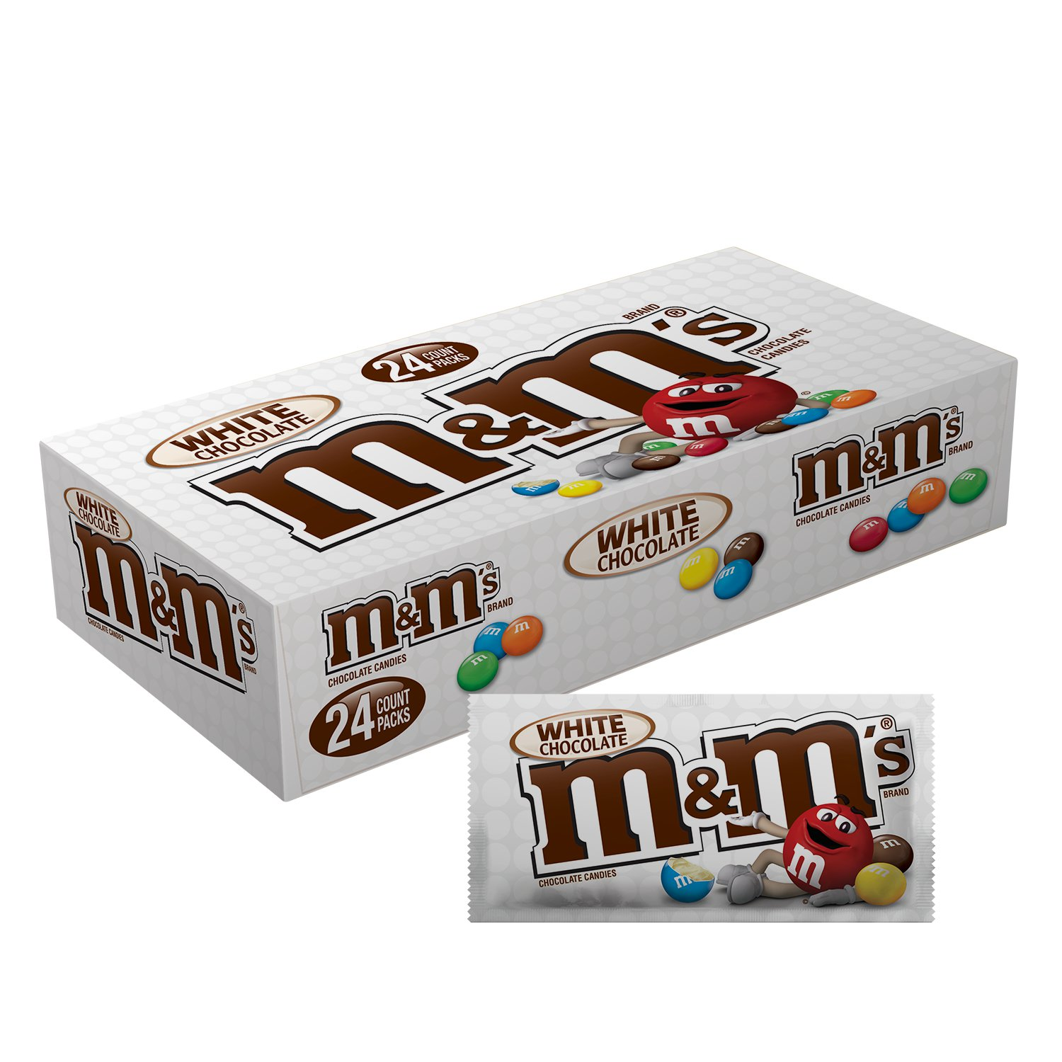 M&M's, White Chocolate Candy, 1.5 Oz, 24 Ct