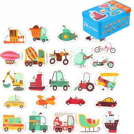 Simple 24 Kinds Of Wooden Kids Cartoon Animal Traffic Fruit Jigsaw Puzzle Educational Toy](Discount Puzzles)
