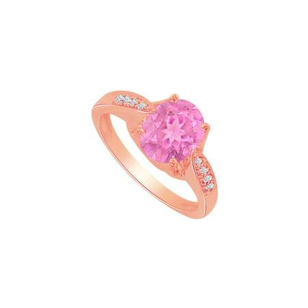 (Pink Sapphire CZ Engagement Ring 14K Rose Gold Vermeil)