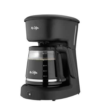 Mr. Coffee 12-Cup Coffeemaker with Easy ON/OFF LED Switch, Black