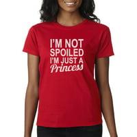 Trendy USA 1473 - Women's T-Shirt I'm Not Spoiled I'm Just A Princess Sassy Royal Medium Heliconia