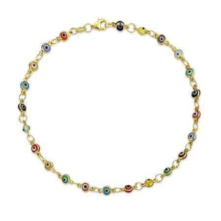 - Turkish Evil Eyes Multi Color Anklet Link Ankle Bracelet 14K Gold Plated 925 Sterling Silver 10 Inch