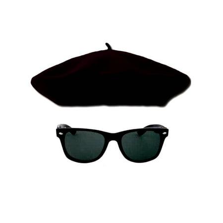 1950s Beatnik Hipster Combo Kit, Black Beret and - 1950's Glasses