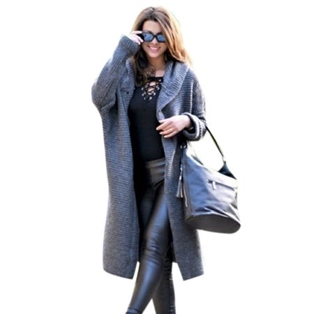 Women Solid Warm Open Front Knit Hooded Cardigan Loose Sweater Coat
