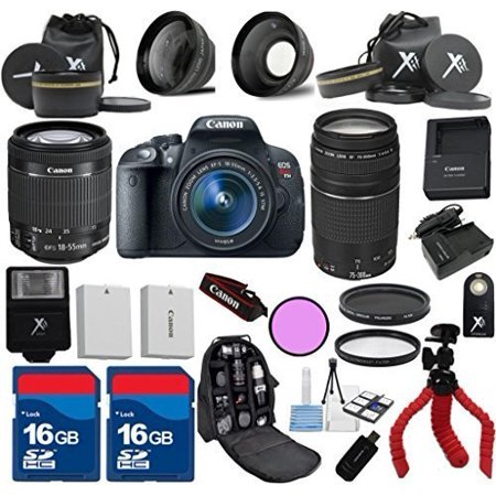 (Canon T5i Camera Body with 18-55mm IS STM + 75-300mm III + 3Pc Filter Kit + Wide Angle + Telephoto + Spider Tripod + Extra Battery + 2pcs 16GB Memory Cards + 24pc Kit - International Version)