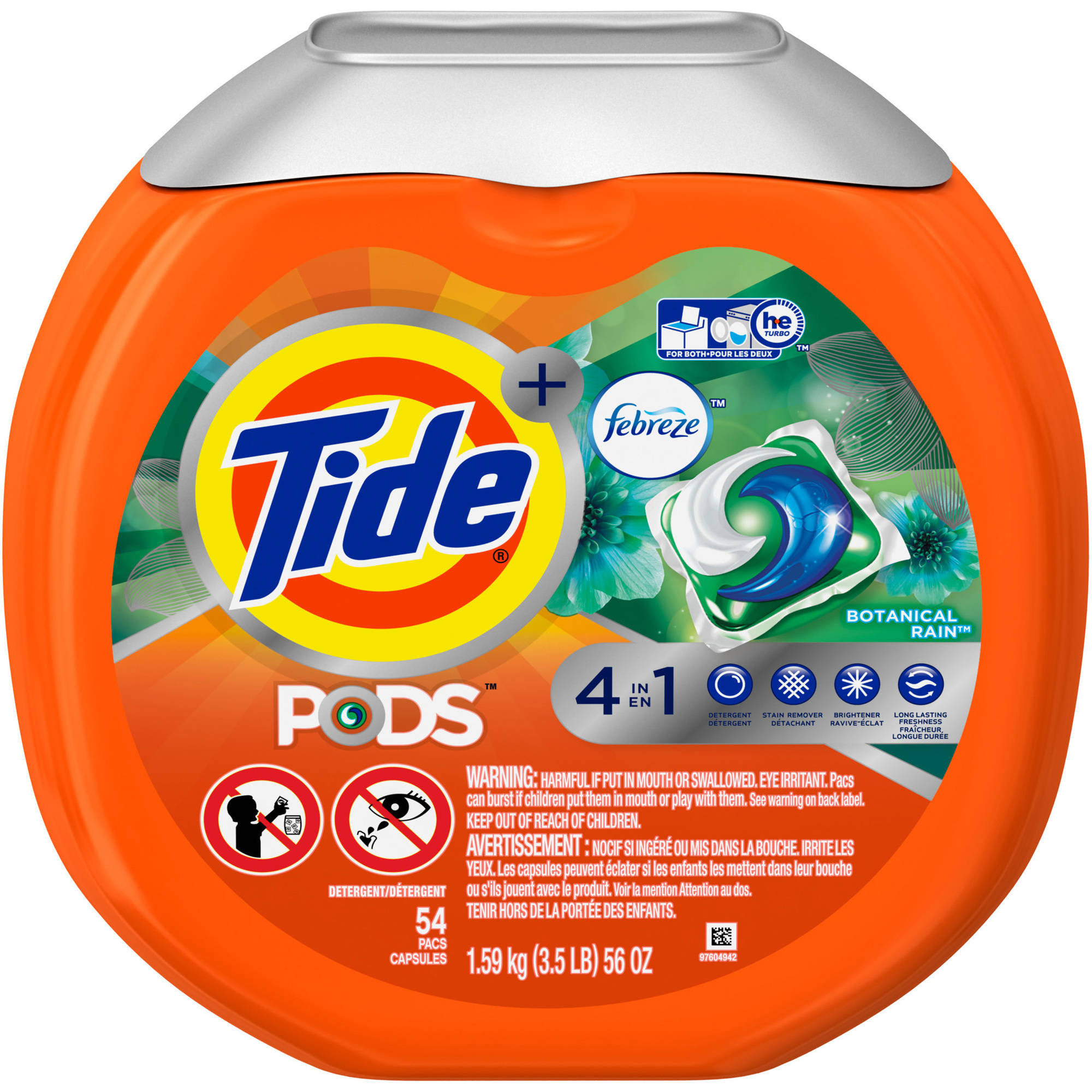 Tide PODS Plus Febreze Odor Defense Laundry Detergent Pacs, Botanical Rain Scent, (Choose Your Count)