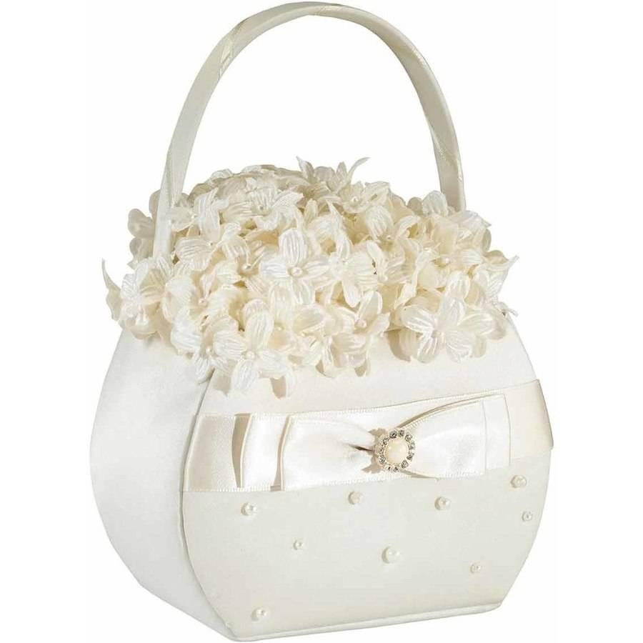 Lillian Rose Scattered Pearl Flower Girl Basket, Ivory
