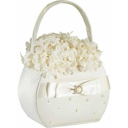 Lillian Rose Scattered Pearl Flower Girl Basket,