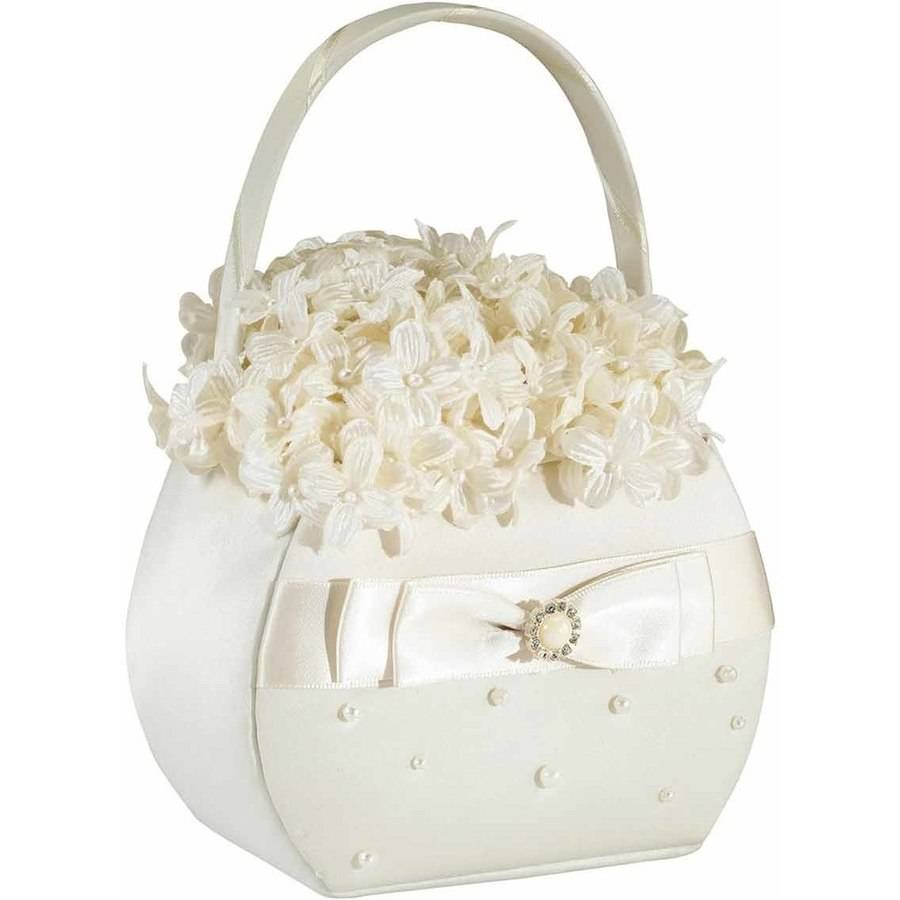 Lillian Rose Scattered Pearl Flower Girl Basket, Ivory