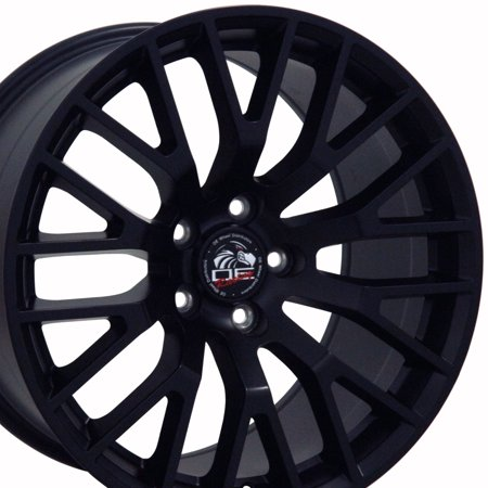 Larger Rear Wheels (18x10 Wheel Fits Ford® Mustang® - 2015 GT Style Satin Black Rim, Hollander 10036 - REAR ONLY)