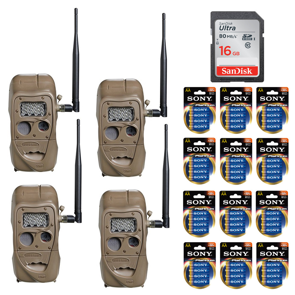 Cuddeback CuddeLink IR Game Trail Camera (4-Pack) with Batteries and Cards