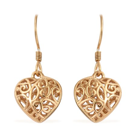 14K Yellow Gold Sterling Silver Openwork Dangle Drop Heart Valentines Earrings Gift Jewelry for (Sterling Silver Drop Style Earrings)
