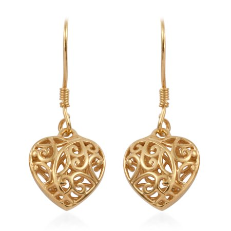 14K Yellow Gold Sterling Silver Openwork Dangle Drop Heart Valentines Earrings Gift Jewelry for Women