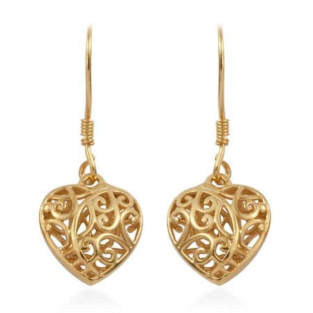 14K Yellow Gold Sterling Silver Openwork Dangle Drop Heart Valentines Earrings Gift Jewelry for Women - Heart Crown Dangle