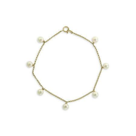 14K Yellow Gold & 5MM White Round Pearl Bracelet