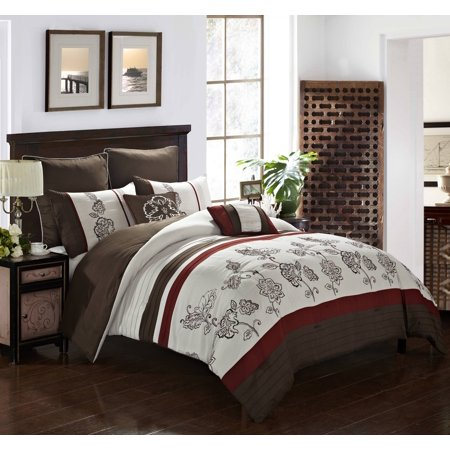 Better Homes and Gardens Embroidered Pintuck Stripe 7-Piece Comforter Set, Full/ Queen ()