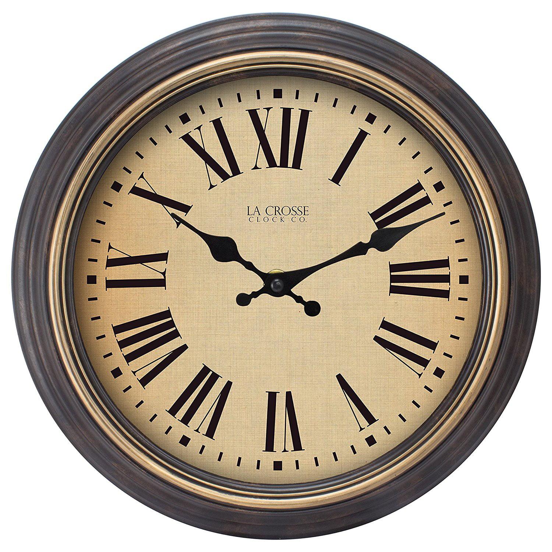 """La Crosse Clock 404-3045BK 18"""" Brown Antique Wall Clock by La Crosse Technology, Ltd."""