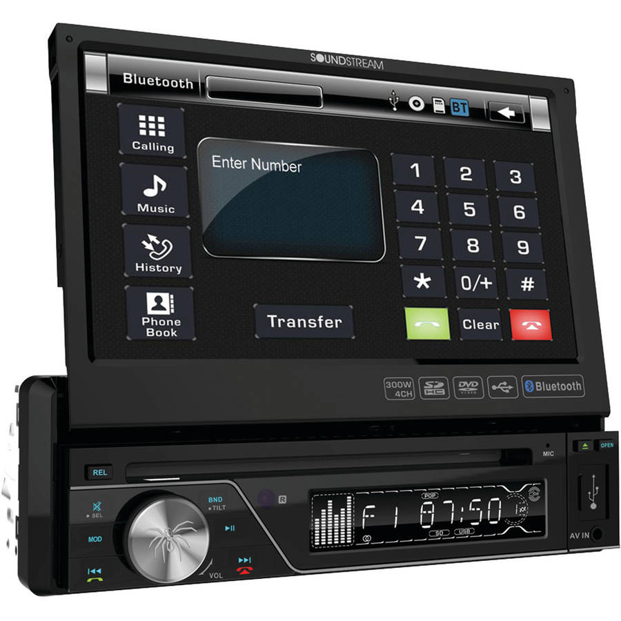 "Soundstream VIR-7830B 7"" Single-DIN In-Dash DVD Receiver with Flip-Out Display and Bluetooth"