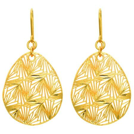 14 Karat Yellow Gold 35x24mm Pear Shaped Dangle Earrings With Fishhook Backs