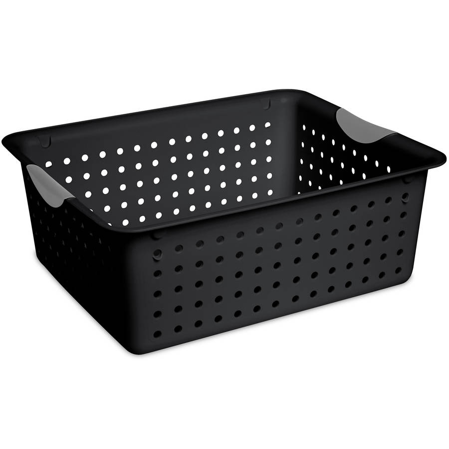 Sterilite Large Ultra Basket- Black, Case of 6