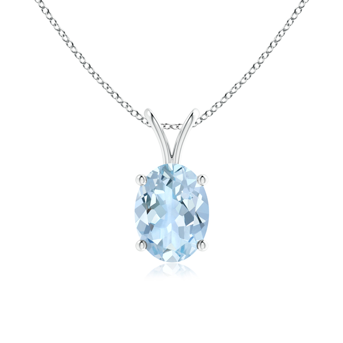 March Birthstone Pendant Necklaces Prong Set Oval Aquamarine V-Bale Solitaire Pendant in .925 Sterling Silver (8x6mm... by Angara.com