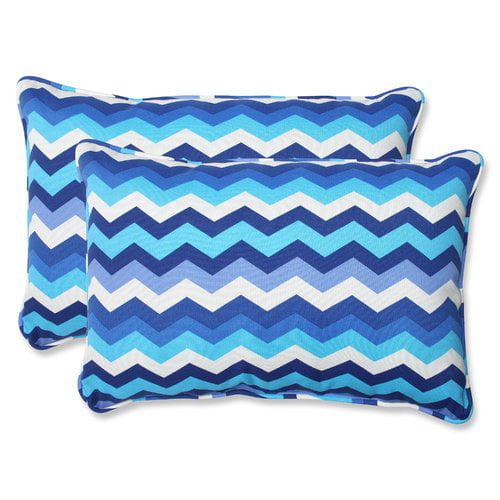 Pillow Perfect Outdoor Indoor Panama Wave Azure Over Sized Rectangular Throw Pillow Set Of 2 Walmart Com Walmart Com