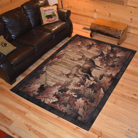 Rustic Lodge Deer - Rug Empire Rustic Lodge Deer Hunt Cabin Black Multi Area Rug - 7'10 x 9'10