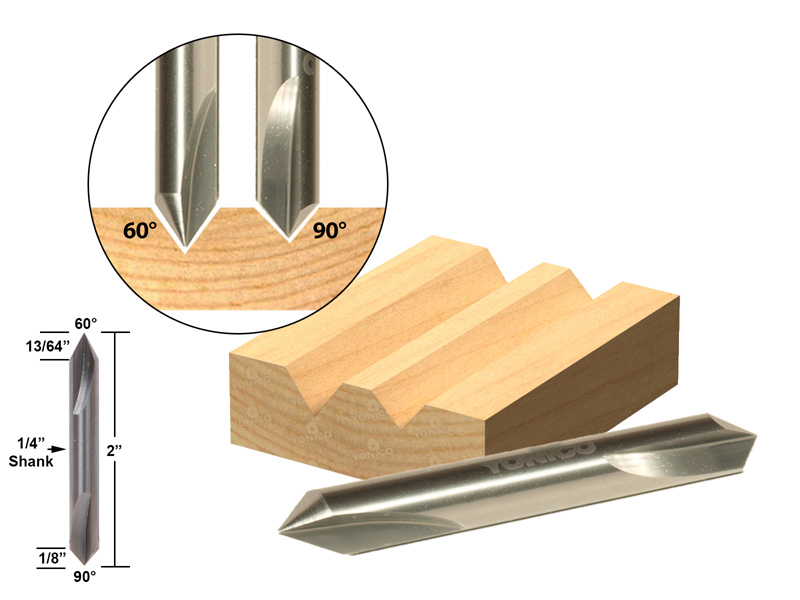 "60� 90� V-Groove Double Ended Solid Carbide Router Bit 1 4"" Shank Yonico 14103q by Yonico"