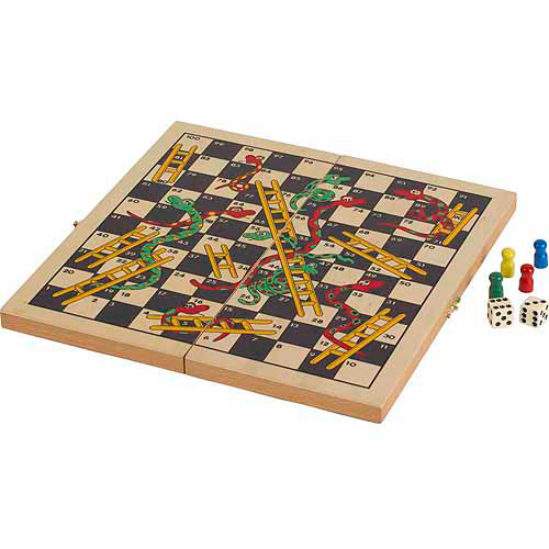 CHH Folding Wooden Snakes & Ladders Game