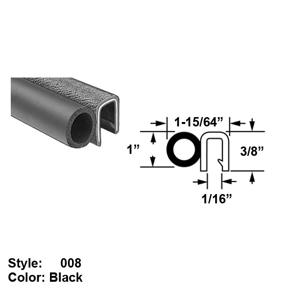 Style 008 Water and Weather Resistant Hollow Foam Rubber Push-On Seals with Bulb on Side Black 1-15//64 10 ft long Ht 1 x Oall Wd