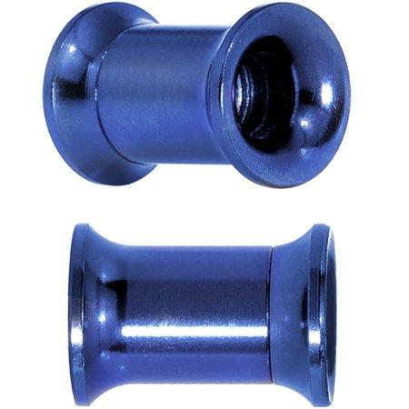 Body Candy Blue Anodized Titanium Steel Screw Fit Tunnel Plug Set of 2 2 Gauge