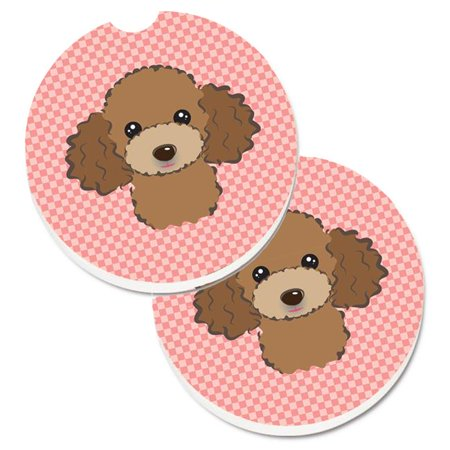 Checkerboard Pink with Chocolate & Brown Poodle Set of 2 Cup Holder Car Coaster - image 1 de 1