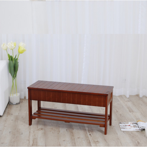 Roundhill Quality Solid Wood Shoe Bench with Storage, Multiple Colors Available