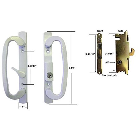 Sliding Glass Patio Door Handle Set with Mortise Lock, White, Keyed ...
