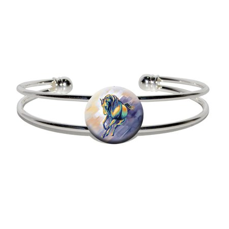 Horse Running - Painting Silver Plated Metal Cuff Bracelet