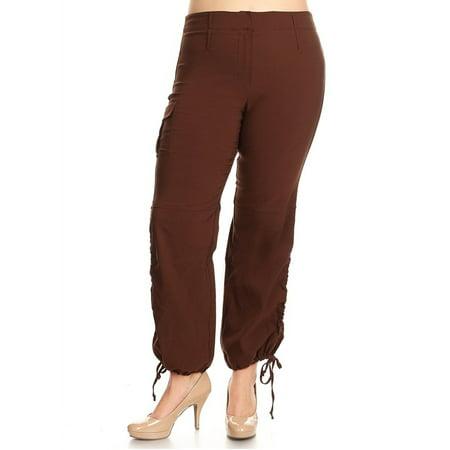 2d93141e3ec Jack David - JEANS FOR LOVE Jack David Women s Plus Size Drawstring Relaxed  Fit High-Waist Full Length Cargo Pants - Walmart.com