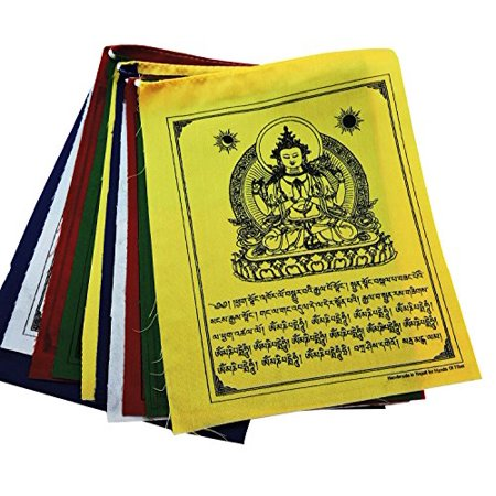 Buddha of Compassion Tibetan Prayer Flags From Nepal Set of 10
